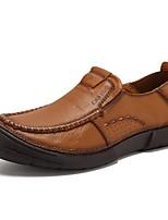 Недорогие -Муж. Кожаные ботинки Наппа Leather Весна На каждый день / Английский Мокасины и Свитер Сохраняет тепло Коричневый / Хаки