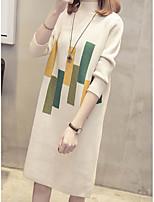 Недорогие -женская вышивка свитер платье midi шея экипажа