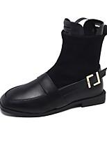 Недорогие -Жен. Fashion Boots Полиуретан Зима Винтаж Ботинки Блочная пятка Квадратный носок Сапоги до середины икры Черный