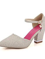 Недорогие -Жен. Комфортная обувь Синтетика Лето Обувь на каблуках На толстом каблуке Белый / Красный / Розовый