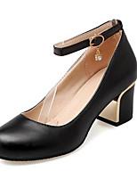 abordables -Femme Escarpins Cuir Printemps Chaussures à Talons Block Heel Noir
