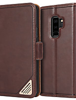 Недорогие -BENTOBEN Кейс для Назначение SSamsung Galaxy S9 Plus Защита от удара / со стендом / Флип Чехол Однотонный Твердый Настоящая кожа / ПК для S9 Plus