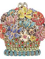 Недорогие -Жен. Мешки Сплав Вечерняя сумочка Кристаллы / С отверстиями Цветочные / ботанический Розовый / Светло-золотой / Цвет радуги