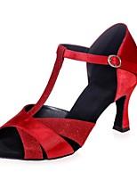 abordables -Femme Chaussures Latines Satin / Matière synthétique Sandale Boucle Talon Bobine Chaussures de danse Argent / Marron / Rouge