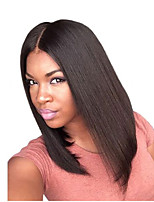 billiga -Remy-hår Hel-spets Peruk Brasilianskt hår Silky rakt Peruk Bob-frisyr / Kort Bob / Middle Part 130% Medelstorlek / Naturlig hårlinje Svart Dam Korta Äkta peruker med hätta