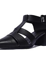 Недорогие -Жен. Комфортная обувь Наппа Leather Лето Обувь на каблуках На толстом каблуке Черный / Синий
