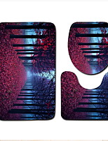 Недорогие -3 предмета Modern Коврики для ванны 100 г / м2 полиэфирный стреч-трикотаж Цветочный принт нерегулярный Ванная комната Новый дизайн / Cool