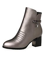 Недорогие -Жен. Fashion Boots Полиуретан Осень Ботинки На толстом каблуке Закрытый мыс Ботинки Черный / Серый / Красный