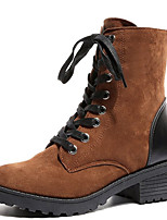 Недорогие -Жен. Fashion Boots Полиуретан Осень На каждый день Ботинки На толстом каблуке Круглый носок Сапоги до середины икры Черный / Желтый
