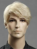 billiga -Syntetiska peruker Rak Asymmetrisk frisyr Syntetiskt hår 20 tum Ung Blond Peruk Herr Korta Utan lock Ljusguldig