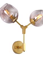 Недорогие -северная Европа современный металлический настенный светильник 2 стеклянный настенный светильник гостиная столовая кафе окрашенная отделка
