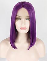 Недорогие -Синтетические кружевные передние парики Естественный прямой Средняя часть 180% Человека Плотность волос Искусственные волосы 14-16 дюймовый Мягкость / Жаропрочная / синтетический Фиолетовый Парик Жен.