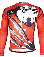 abordables -ILPALADINO Homme Manches Longues Maillot de Cyclisme - Rouge Mode Cyclisme Hauts / Top Hiver, Elasthanne