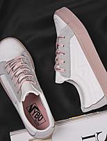 Недорогие -Жен. Комфортная обувь Полотно Весна Кеды На плоской подошве Белый / Черный