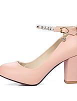 Недорогие -Жен. Балетки Полиуретан Весна Обувь на каблуках На толстом каблуке Черный / Бежевый / Розовый