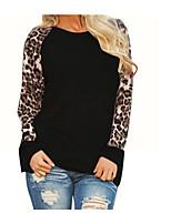 abordables -t-shirt en coton grande taille pour femmes - léopard / col rond de couleur unie
