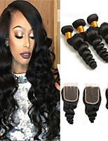 Недорогие -3 комплекта с закрытием Перуанские волосы Свободные волны 8A Натуральные волосы Подарки Головные уборы Удлинитель 8-24 дюймовый Черный Естественный цвет Ткет человеческих волос Машинное плетение 4x4