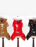 baratos -Cachorros Jaquetas de Penas Roupas para Cães Sólido Preto / Café / Vermelho Terylene / Plumagem Ocasiões Especiais Para animais de estimação Unisexo Mantenha Quente / A prova de Vento