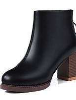 Недорогие -Жен. Fashion Boots Полиуретан Осень Минимализм Ботинки На толстом каблуке Сапоги до середины икры Черный