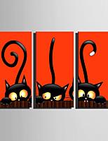 Недорогие -С картинкой Отпечатки на холсте - Животные / Halloween Modern