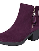 Недорогие -Жен. Fashion Boots Полиуретан Осень Минимализм Ботинки На толстом каблуке Круглый носок Сапоги до середины икры Черный / Вино