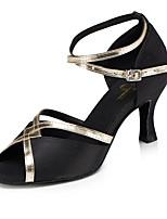 abordables -Femme Chaussures Latines Satin Talon Fantaisie Talon Bobine Chaussures de danse Noir