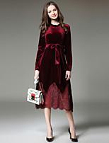Недорогие -Жен. Элегантный стиль С летящей юбкой Платье - Однотонный, Кружева Средней длины