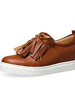 baratos -Mulheres Sapatos Confortáveis Couro Ecológico Primavera Tênis Sem Salto Dedo Fechado Preto / Amêndoa / Castanho Claro