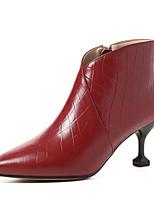 Недорогие -Жен. Fashion Boots Наппа Leather Осень Ботинки На шпильке Закрытый мыс Ботинки Черный / Вино