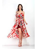baratos -Mulheres Elegante Calças - Sólido Floco de Neve, Frufru / Estampado Cintura Alta Vermelho / Festa / Decote V / Vestidinho Preto / Praia / Sexy