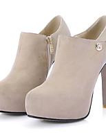 Недорогие -Жен. Fashion Boots Замша Осень Ботинки На шпильке Закрытый мыс Ботинки Черный / Миндальный / Вино