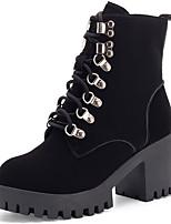 Недорогие -Жен. Fashion Boots Синтетика Зима На каждый день / Английский Ботинки Платформа Сапоги до середины икры Черный