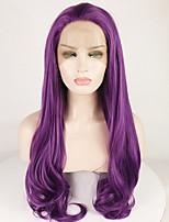 Недорогие -Синтетические кружевные передние парики Жен. Естественные кудри / Крупные кудри Фиолетовый Свободная часть 180% Человека Плотность волос Искусственные волосы 18-26 дюймовый / Лента спереди