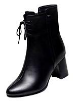 Недорогие -Жен. Fashion Boots Лакированная кожа Зима На каждый день Ботинки На толстом каблуке Сапоги до середины икры Черный