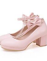 Недорогие -Жен. Комфортная обувь Полиуретан Зима Обувь на каблуках На толстом каблуке Белый / Розовый