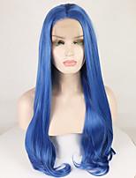 Недорогие -Синтетические кружевные передние парики Жен. Естественные кудри / Крупные кудри Синий Средняя часть 180% Человека Плотность волос Искусственные волосы 18-26 дюймовый Мягкость / Гладкие / Регулируется