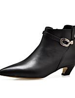 Недорогие -Жен. Fashion Boots Замша / Овчина Зима Ботинки На низком каблуке Закрытый мыс Ботинки Черный