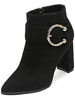 Недорогие -Жен. Fashion Boots Полиуретан Осень На каждый день Ботинки Блочная пятка Заостренный носок Ботинки Черный / Темно-коричневый