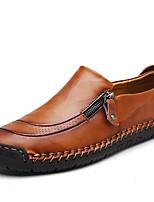 Недорогие -Муж. Кожаные ботинки Кожа Весна Классика / На каждый день Мокасины и Свитер Массаж Черный / Коричневый