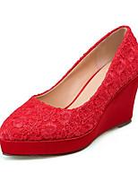 abordables -Femme Chaussures de confort Maille Automne Chaussures de mariage Hauteur de semelle compensée Rouge