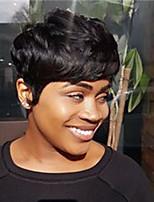 Недорогие -человеческие волосы Remy U-образный Полностью ленточные Парик Бразильские волосы Естественные волны Шелковисто-прямые Парик Стрижка боб Стрижка каскад Боковая часть 130% Плотность волос