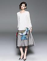 Недорогие -Жен. Винтаж / Шинуазери (китайский стиль) С летящей юбкой Платье - Животное, Вышивка Средней длины Фламинго