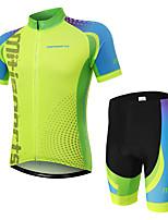 Недорогие -Муж. С короткими рукавами Велокофты и велошорты - Зеленый Велоспорт Наборы одежды, Быстровысыхающий Полиэстер Противотуманное освещение / Эластичная