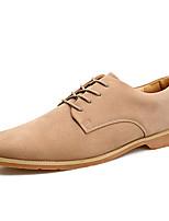 Недорогие -Муж. Комфортная обувь Полиуретан Осень На каждый день Туфли на шнуровке Дышащий Черный / Серый / Миндальный
