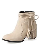 Недорогие -Жен. Fashion Boots Синтетика Зима Ботинки На толстом каблуке Круглый носок Сапоги до середины икры Черный / Серый / Миндальный