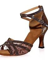 abordables -Femme Chaussures Latines Matière synthétique Sandale Paillette / Boucle Talon Bobine Chaussures de danse Noir / Marron / Rouge