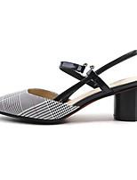 Недорогие -Жен. Комфортная обувь Замша Лето Обувь на каблуках На толстом каблуке Розовый / Белое / серебро