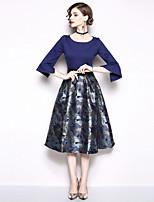 Недорогие -Жен. Элегантный стиль А-силуэт Платье - Цветочный принт Средней длины