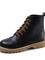Недорогие -Жен. Fashion Boots Полиуретан Наступила зима Ботинки На толстом каблуке Круглый носок Ботинки Черный / Темно-коричневый