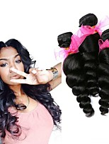 Недорогие -3 Связки Евро-Азиатские волосы Свободные волны Необработанные / Натуральные волосы Человека ткет Волосы / Пучок волос / One Pack Solution 8-28 дюймовый Естественный цвет Ткет человеческих волос
